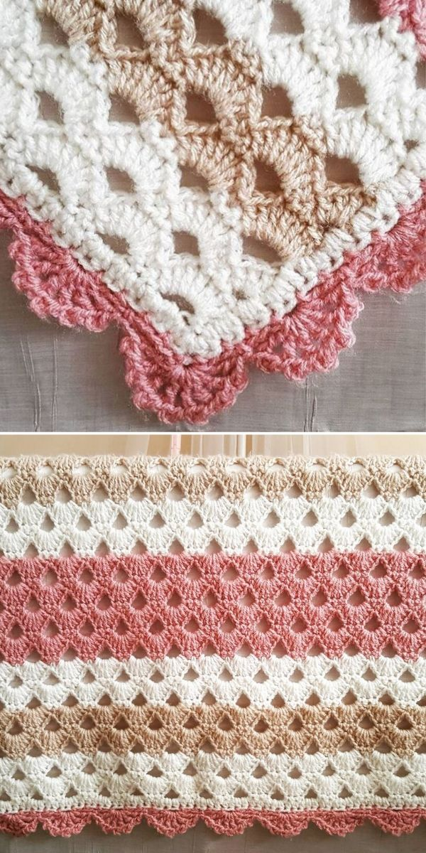 cream and peach Arcade Stitch Blanket