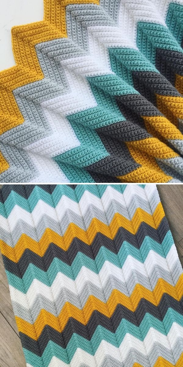 yellow, green and grey chevron blanket