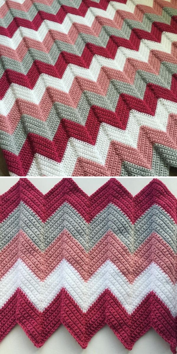 berry and grey chevron blanket
