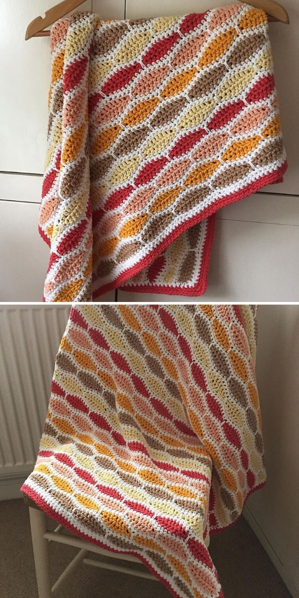 warm tones millstone stitch blanket