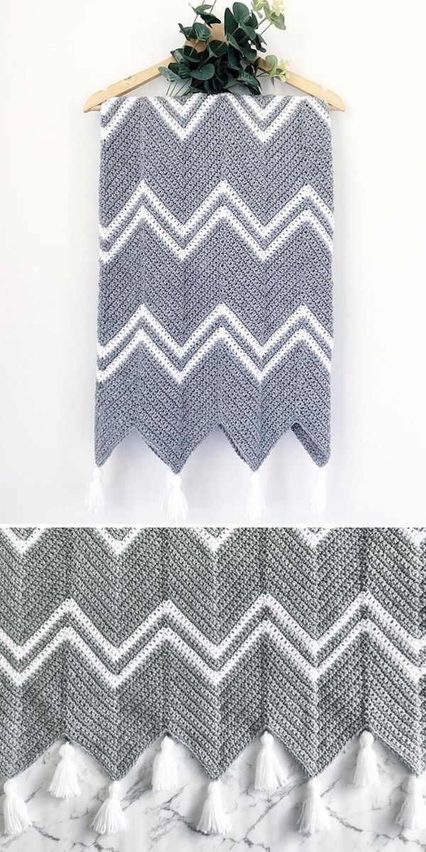 grey chevron blanket