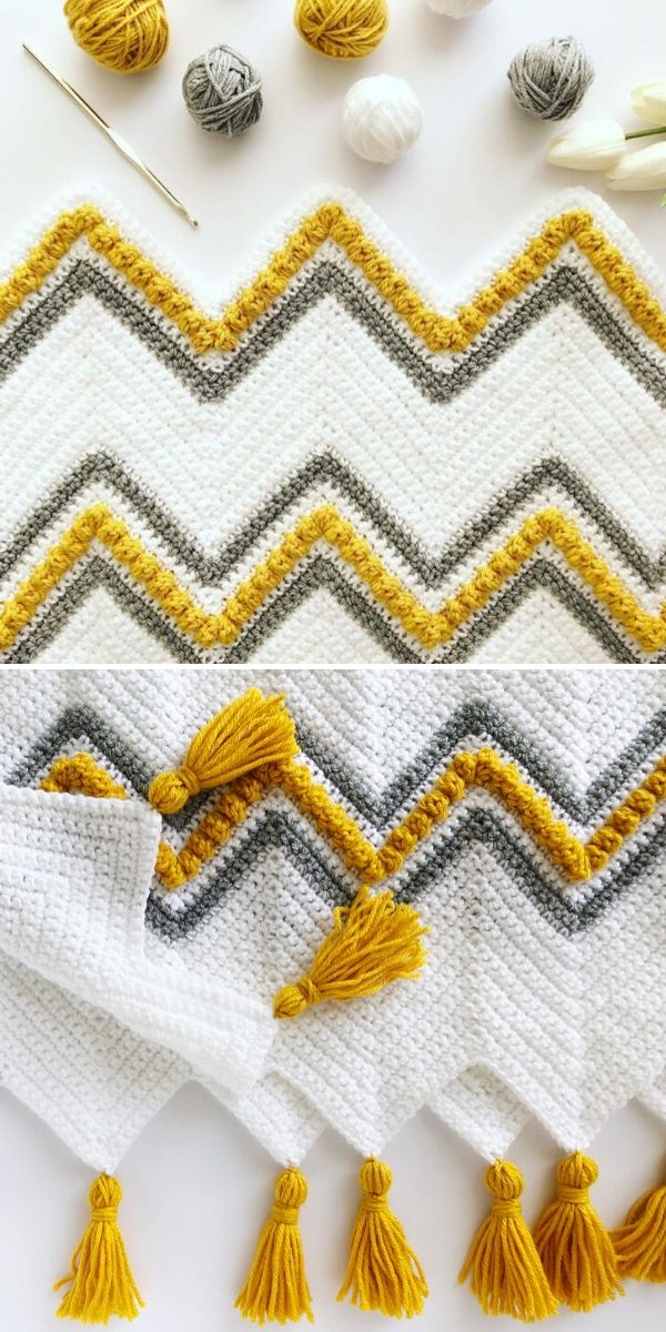 white, yellow and grey chevron blanket