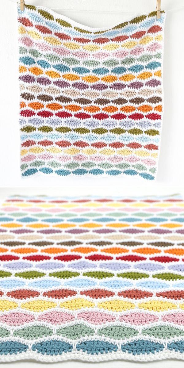 colorful millstone stitch blanket