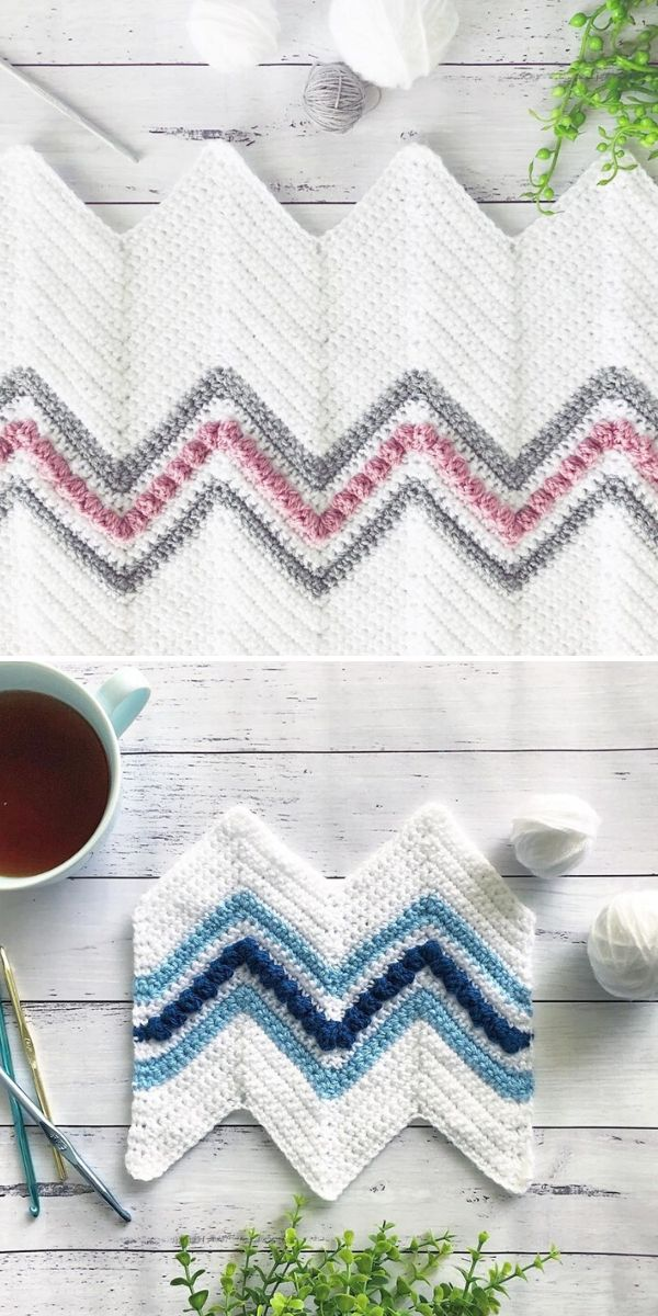 white chevron blanket
