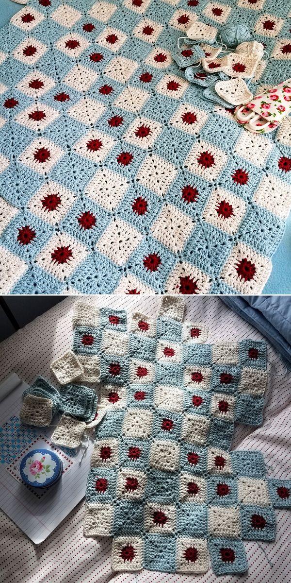 Blue and Red Battenberg Blanket