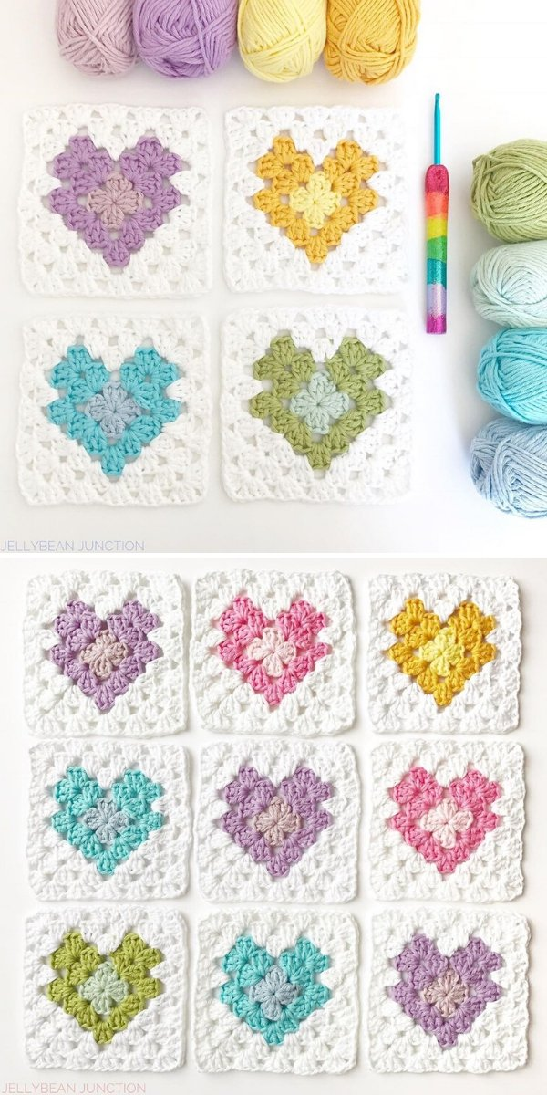 Colorful Heart Granny Squares