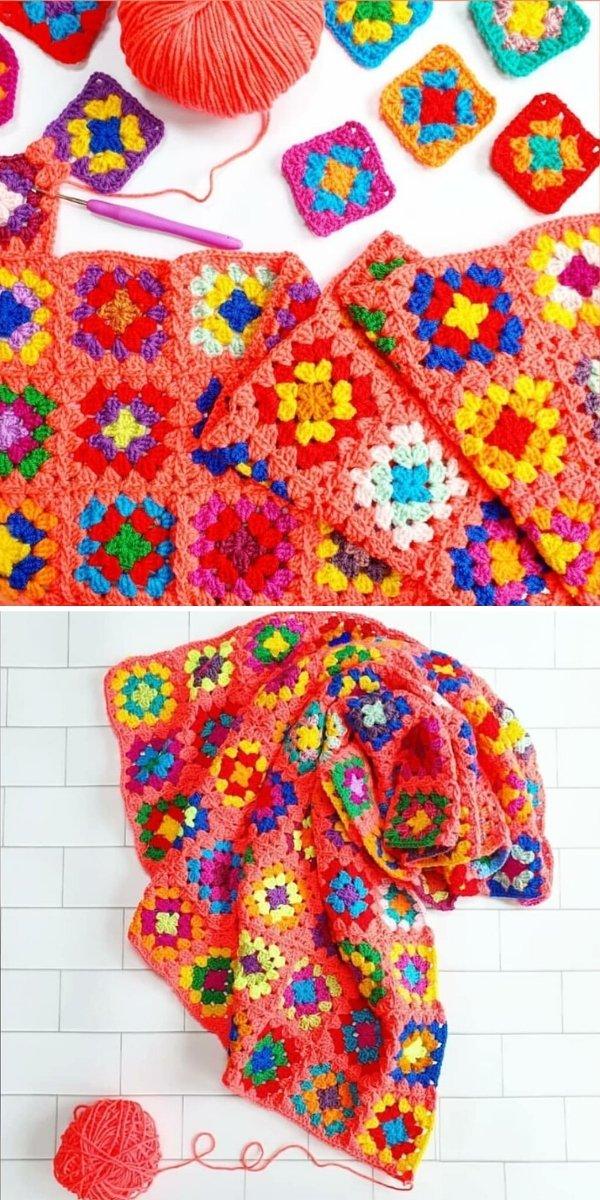 Multicolor Granny Square Blanket