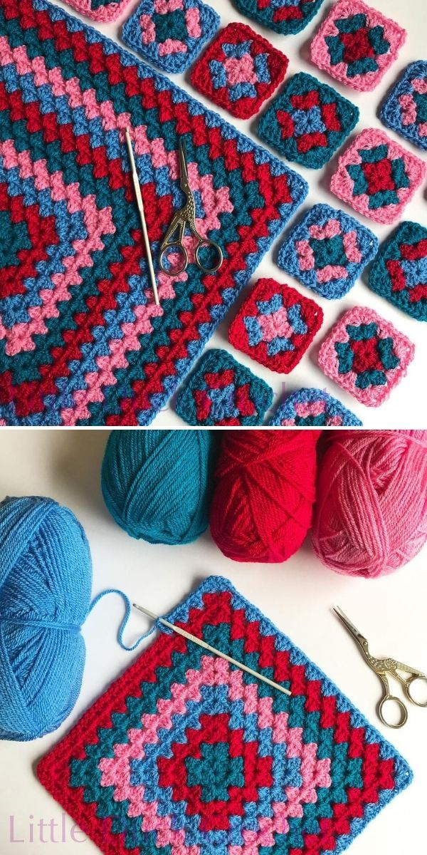 navy and red granny squares
