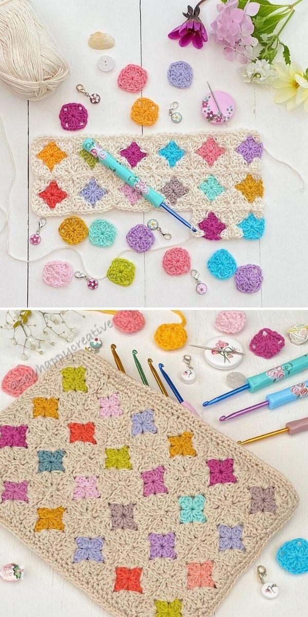 colorful dots granny square pouch
