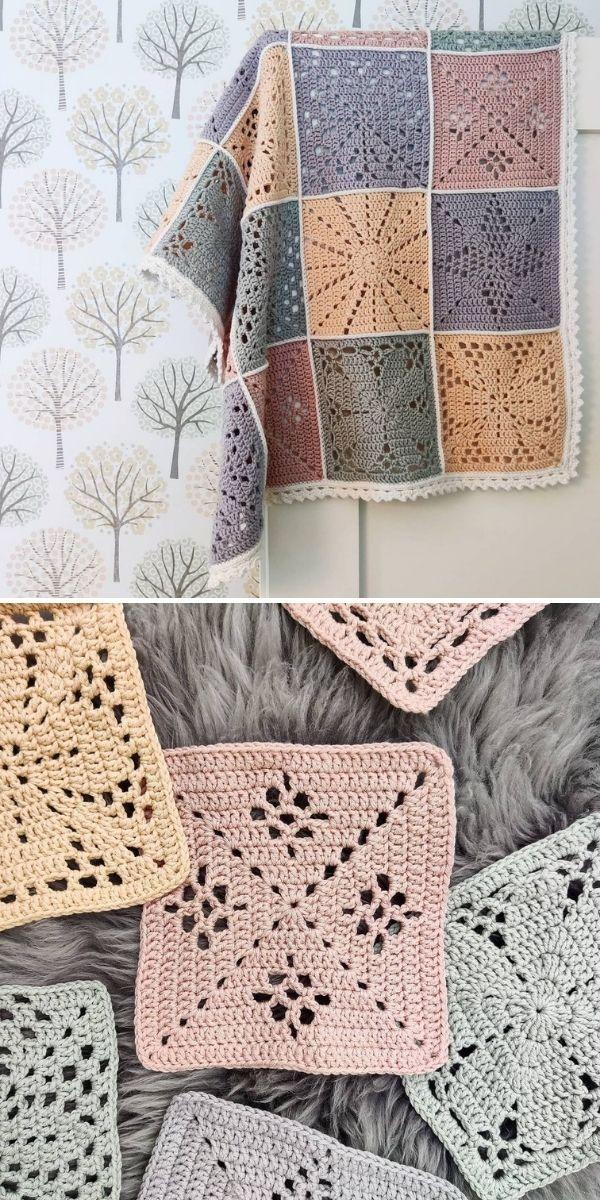 soft pastel crochet squares