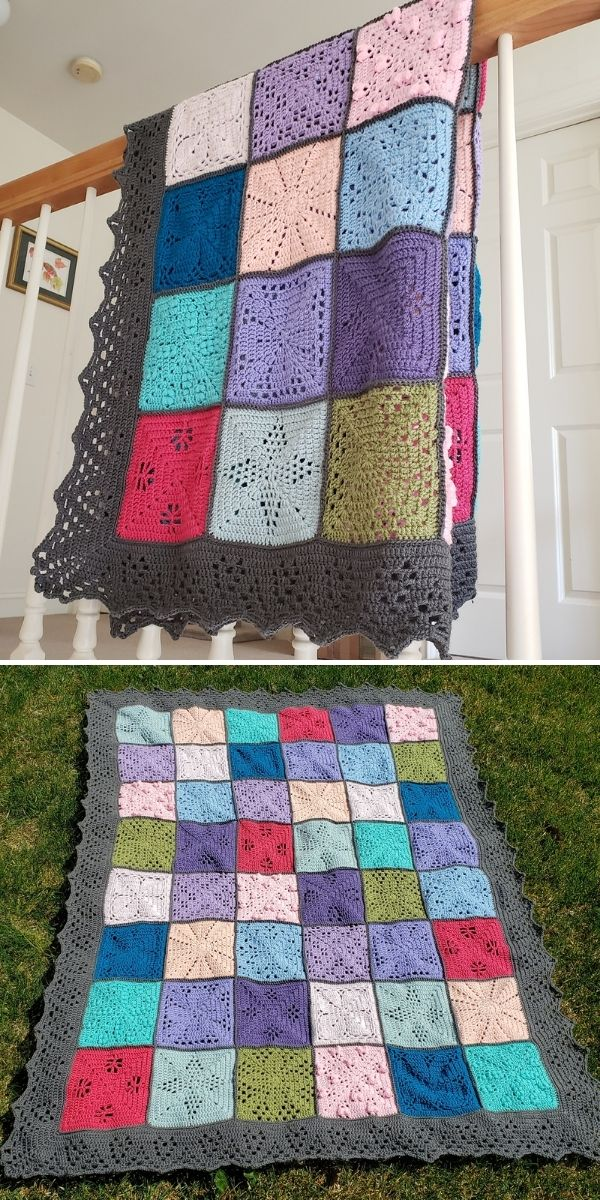 colorful squares blanket with black edging