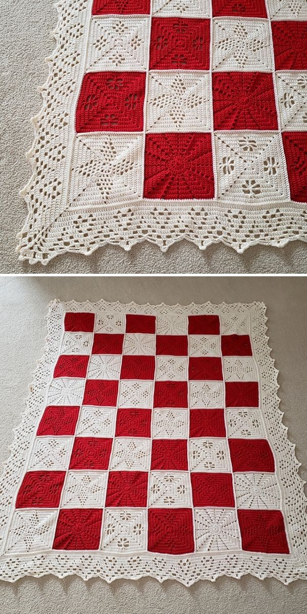 white and red check blanket