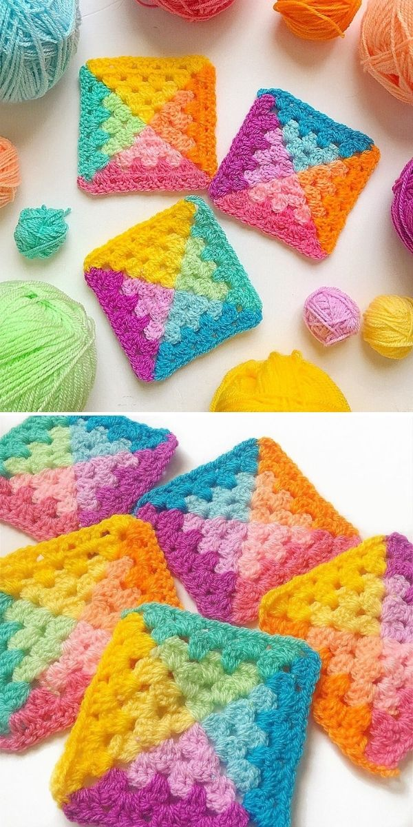 granny squares with many bright colors