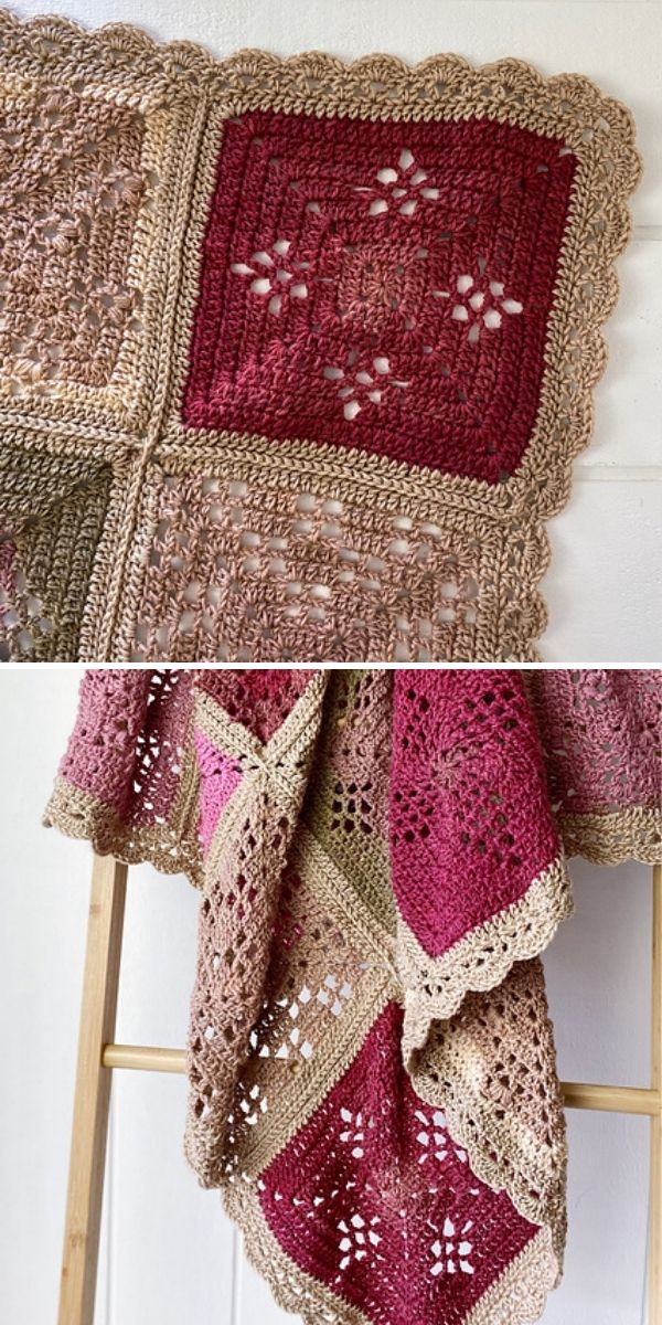 pink and beige blanket with scalloped edging