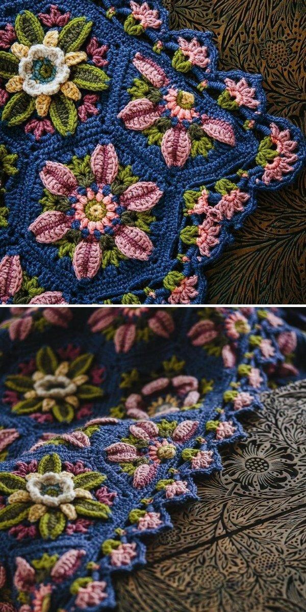 dark and moody crochet flower blanket