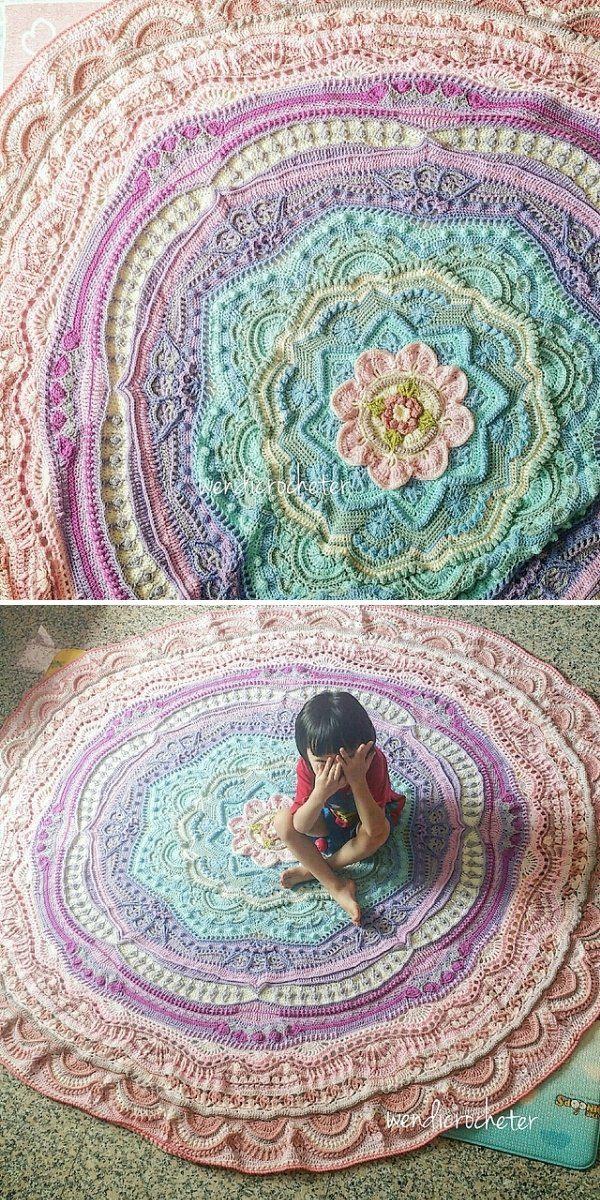 pastel round crochet blanket