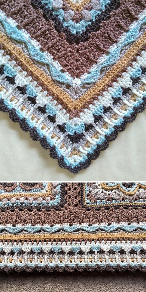 brown and blue crochet blanket edging