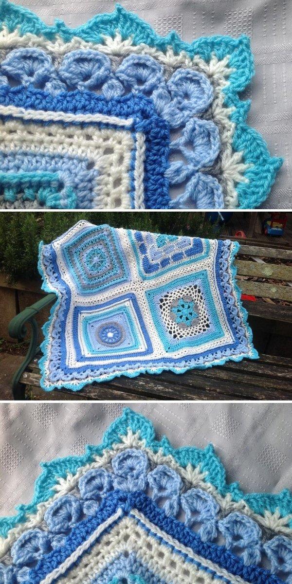 ornamental crochet border in blue