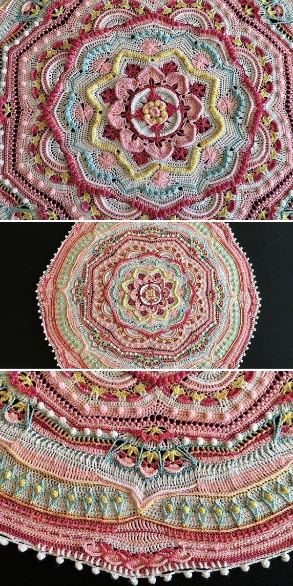 pink circular crochet blanket