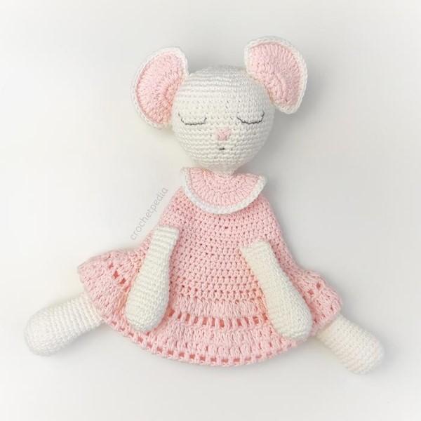 pink lovey amigurumi with big ears