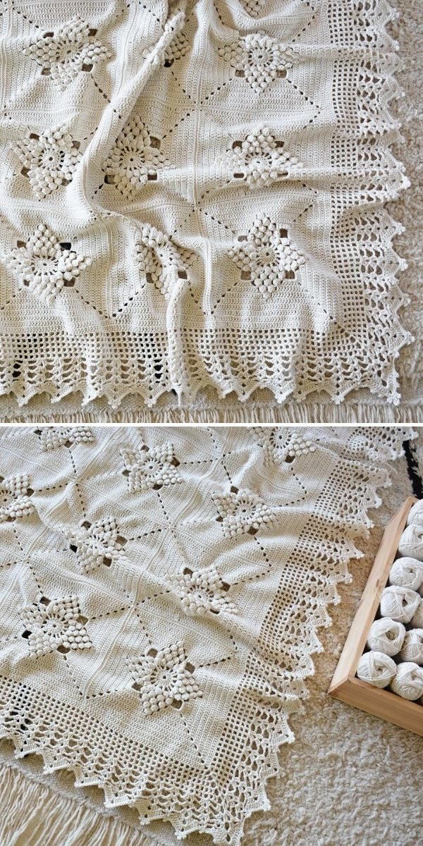 white lacy blanket