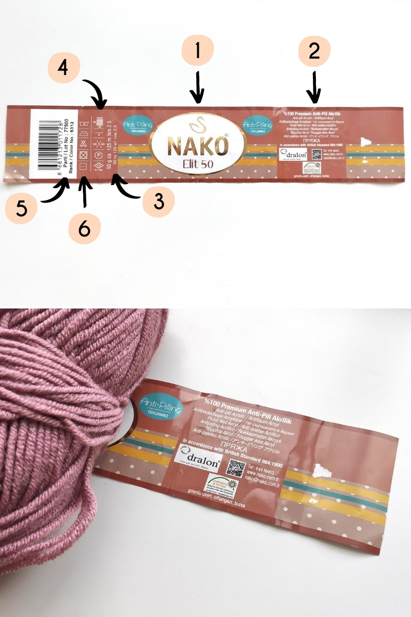 yarn label with numbers