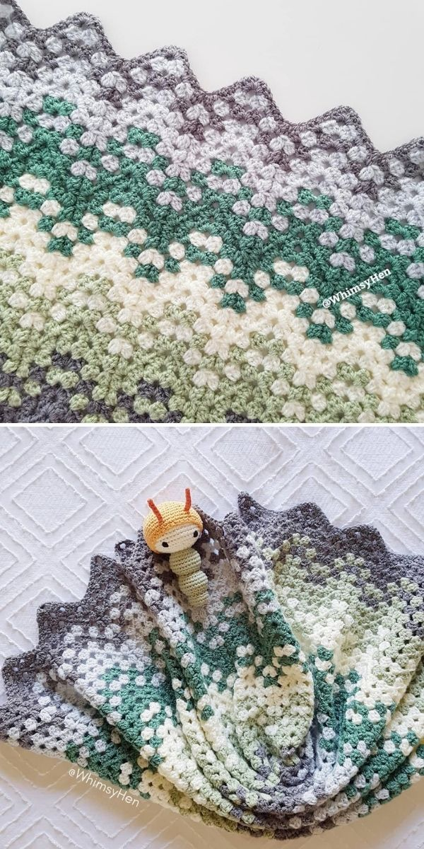 greys and greens blanket on white