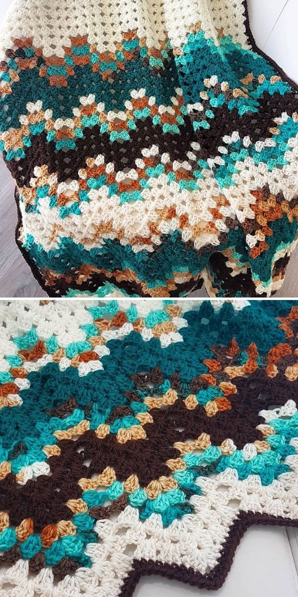 ripple blanket with pops of white and emerald