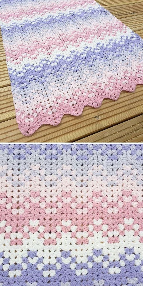 pastel chevron blanket on wood