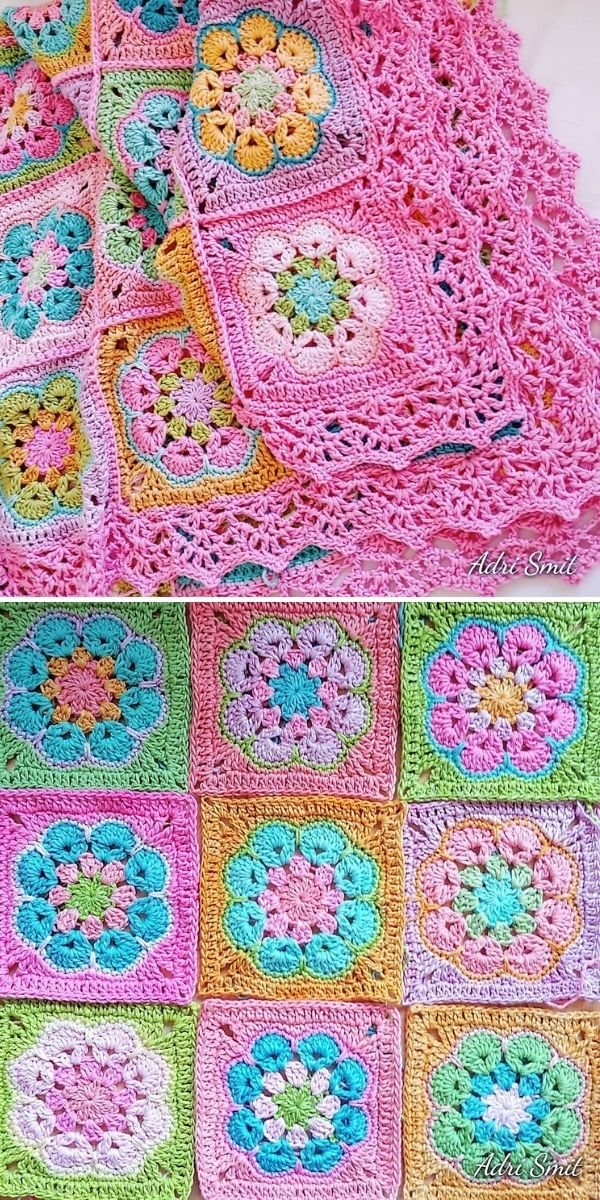 flower blanket with pink lacy edging