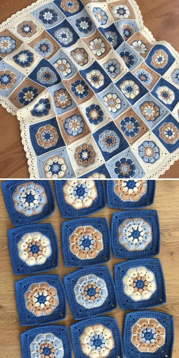 blue and cream blanket