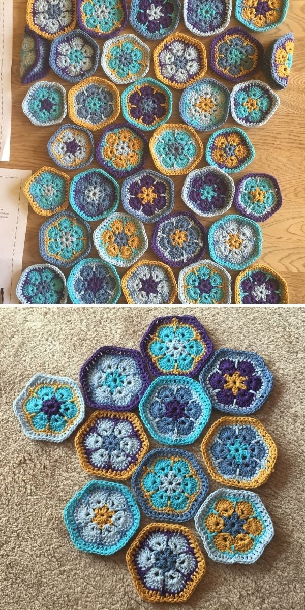 brown and blue hexagons with flowers
