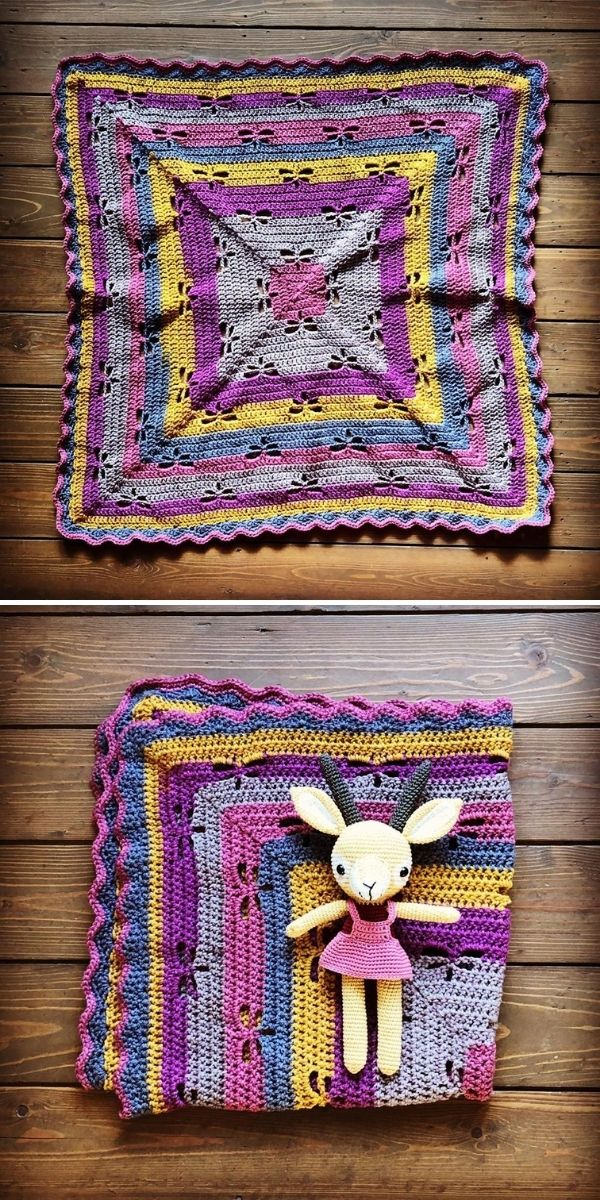violet striped crochet blanket