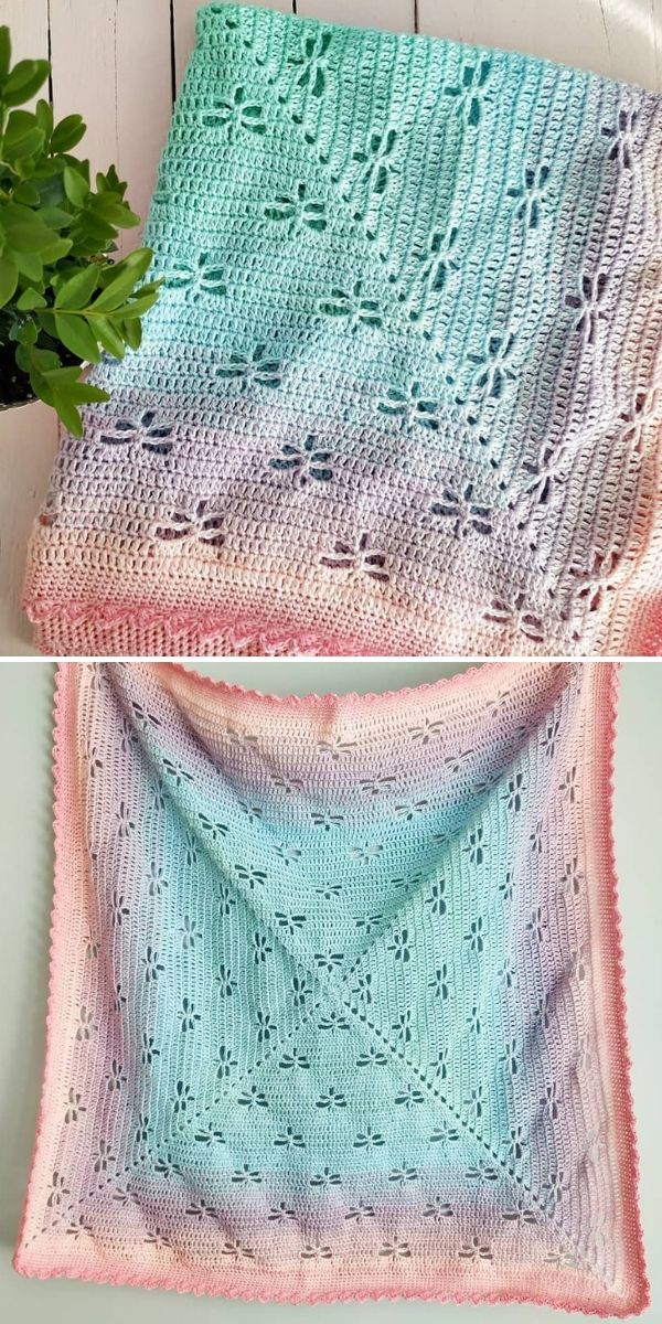 pastel ombre blanket with dragonflies