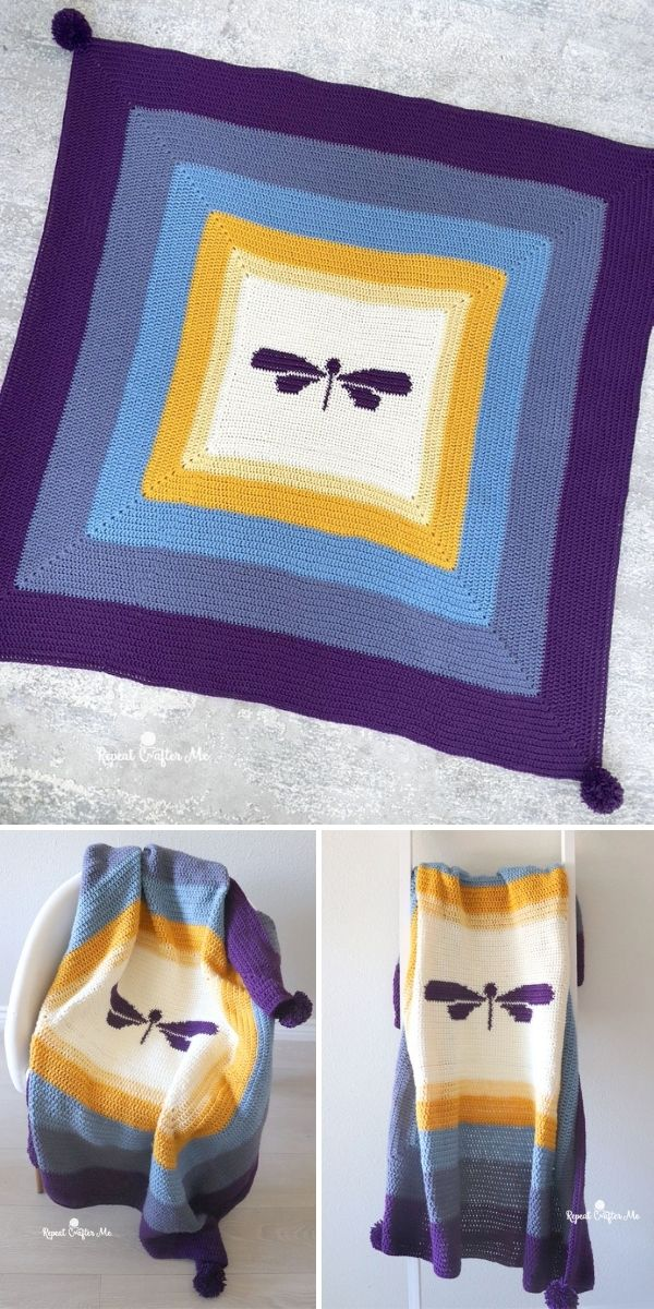 simple blanket with dragonfly in the middle