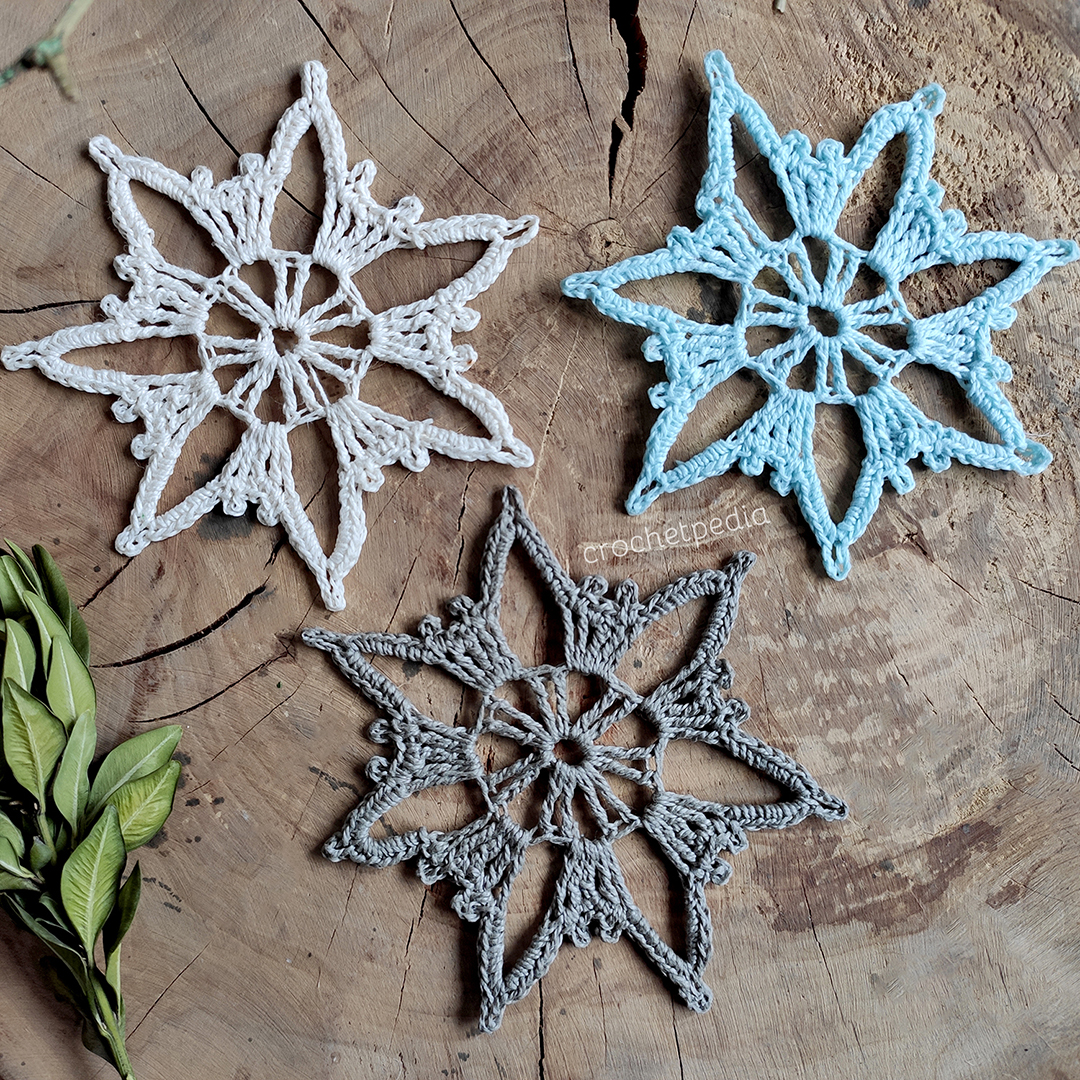 big snowflakes in three colors