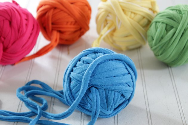 colorful balls of t-shirt yarns