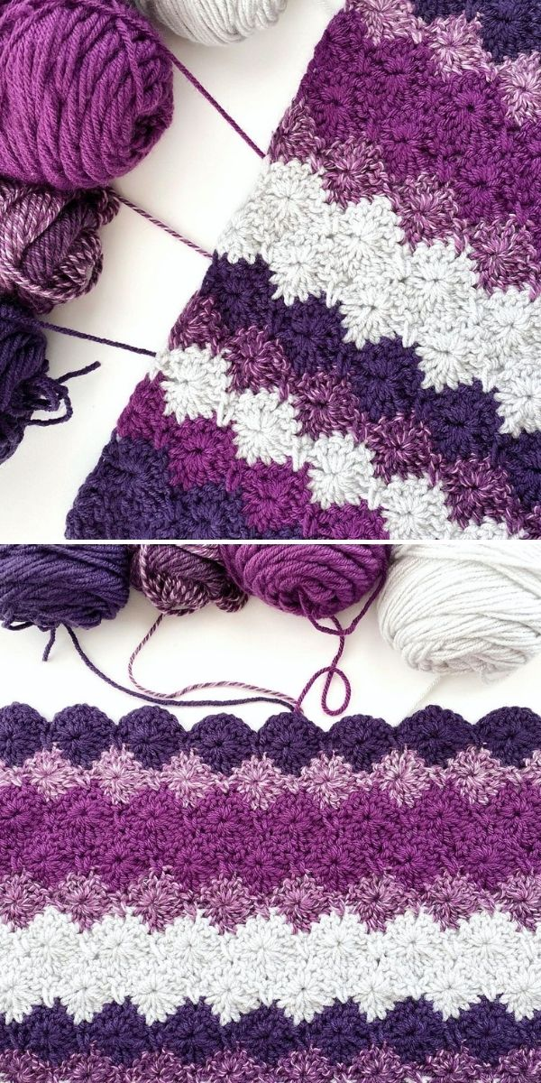 shades of violet crochet blanket and yarn