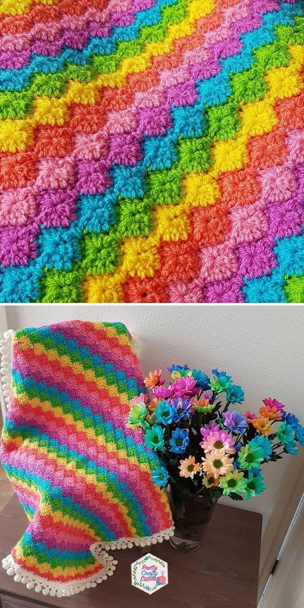 rainbow colors crochet blanket on a sofa