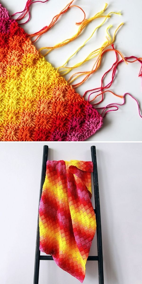 fiery red and yellow ombre blanket with fringe