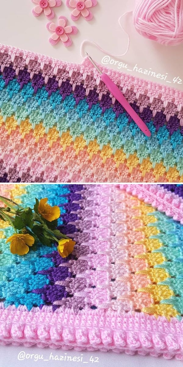 pastel colors blanket with flowers and crochet hook