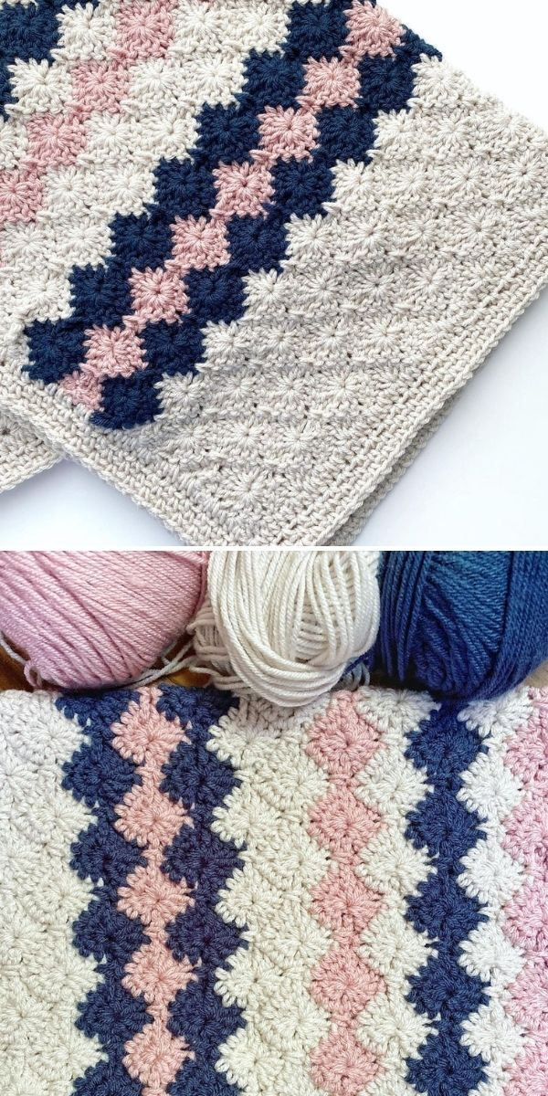 cream blanket with pink and navy accents