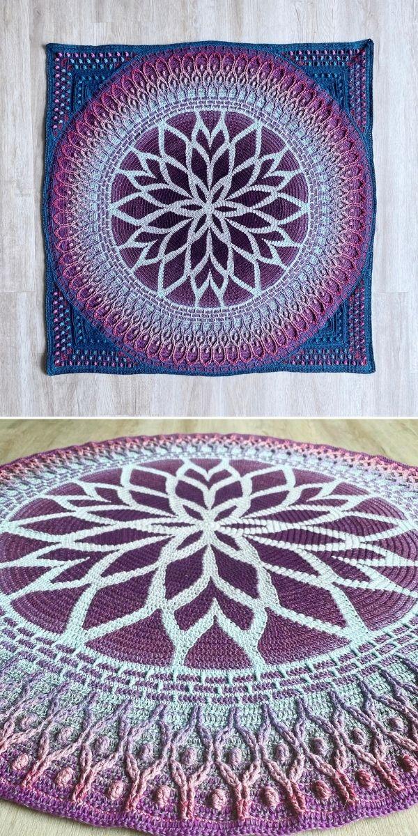 dark purple and blue square blanket
