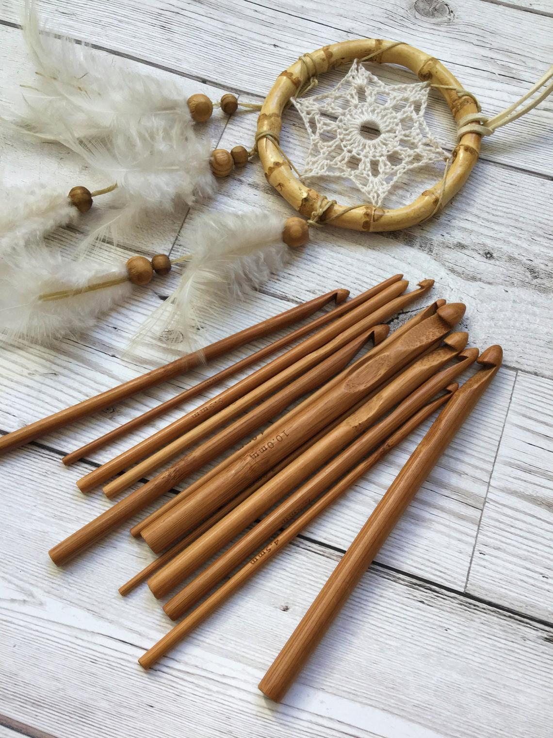 bamboo crochet hooks and a dreamcatcher
