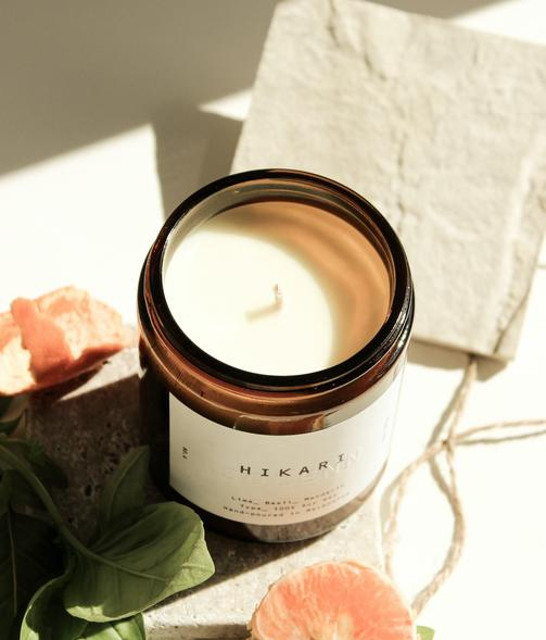soy candle on white