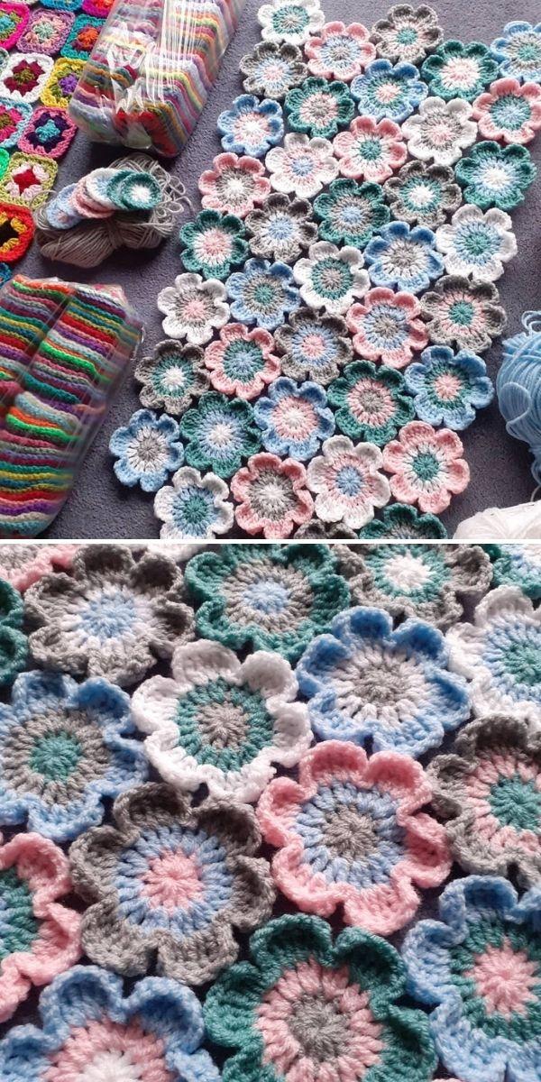 crochet flowers on a table