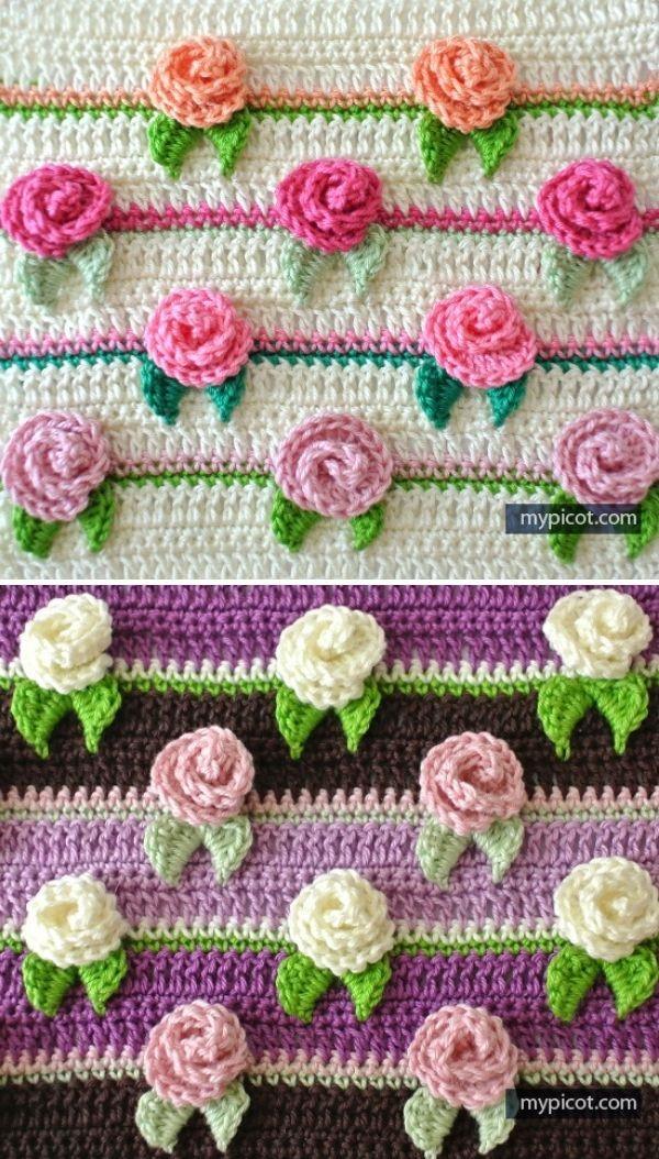 stripy stitch with three dimensional rosebuds