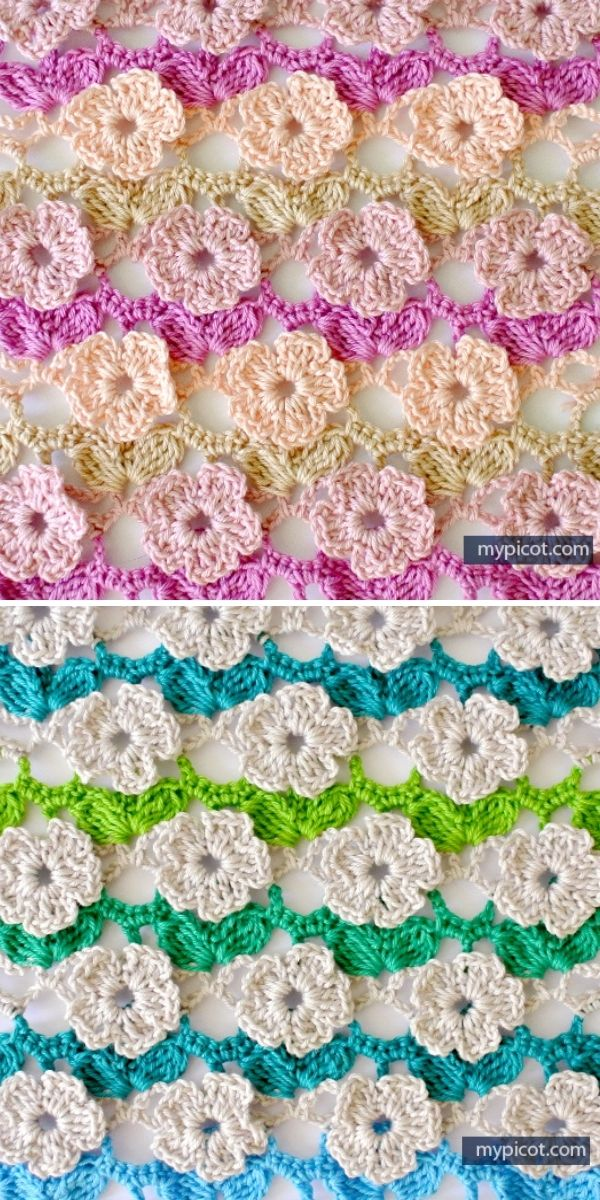 striped crochet piece with structural flowers