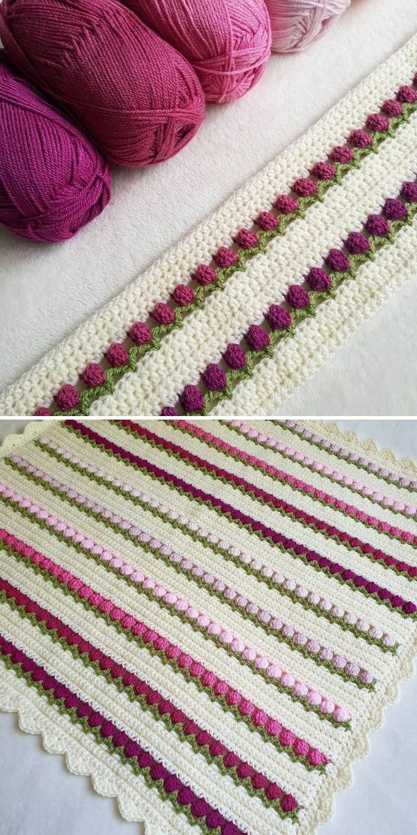 baby blanket with stripes of tulip stitches