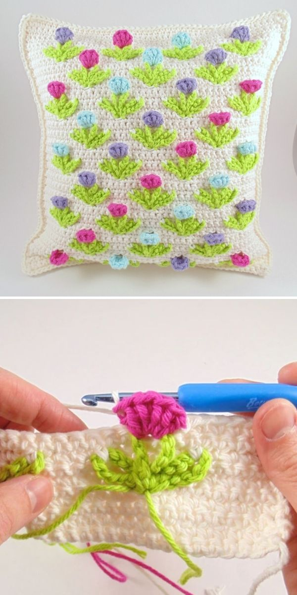 white pillow with colorful structural flowers